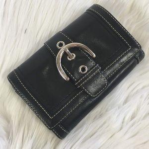 Coach Black Leather Bifold Buckle Wallet